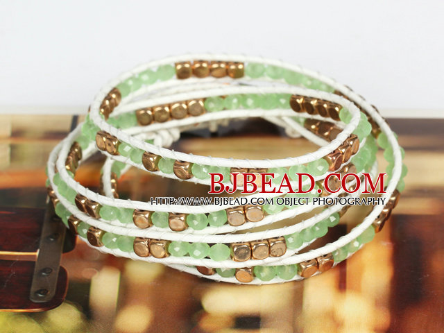 Light Green Crystal and Copper Beads Four Times Wrap Bangle Bracelet