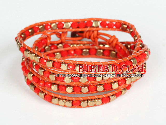 Red Crystal and Copper Beads Four Times Wrap Bangle Bracelet