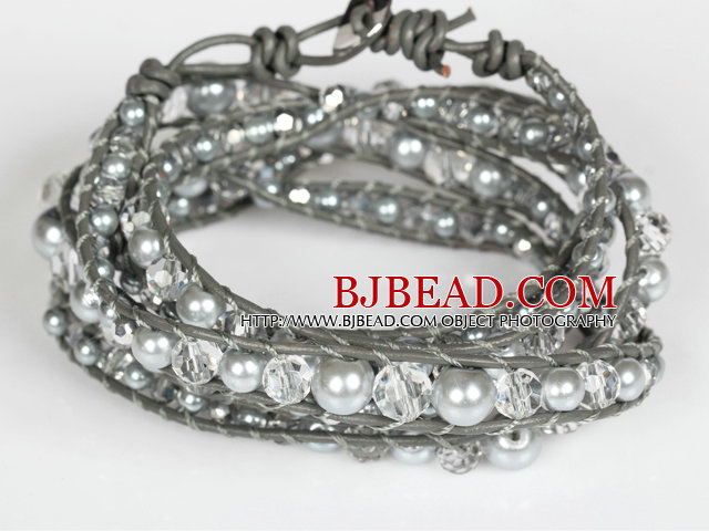 Clear Crystal and Gray Immitation Pearl Wrap Bangle Bracelet