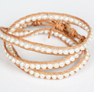 4-5mm Natural White Zoetwater Pearl Leather 3 Times Wrap Bangle Armband