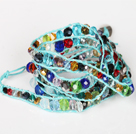 Assorted Multi Color Crystal Beads Six Times Wrap Bangle Bracelet