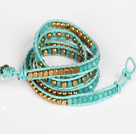 Blue Jade and Copper Beads Four Times Wrap Bangle Bracelet
