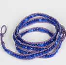 4mm Dark Blue Color Candy Jade Beads Four Times Wrap Bangle Gracelet