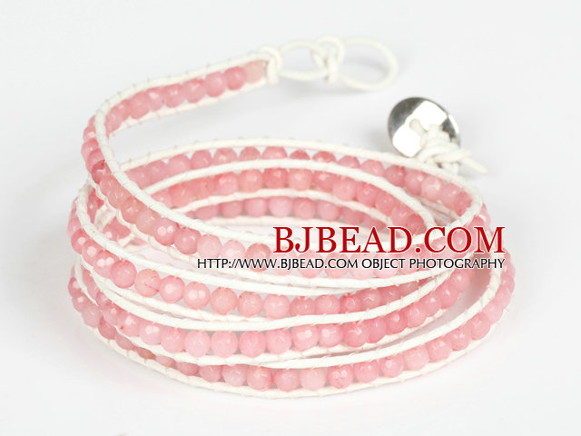 4mm Pink Color Candy Jade Beads Four Times Wrap Bangle Gracelet