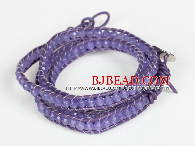 4mm Purple Color Candy Jade Beads Four Times Wrap Bangle Gracelet