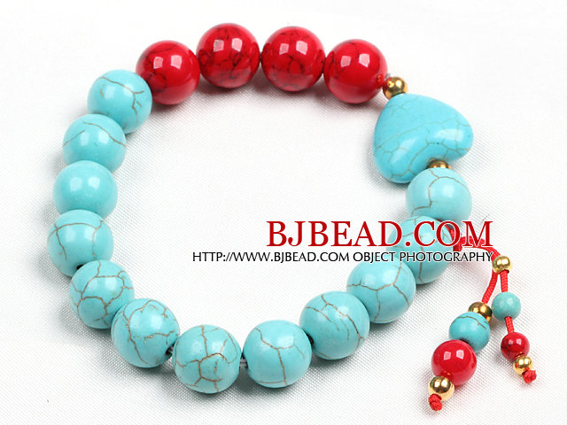 Simple Style Single Strand Blue Turquoise Red Blood Stone Beads Stretch/ Elastic Bracelet