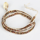3-4mm Brown Pearl Beads Three Times Wrap Bangle Bracelet with Shell Clasp