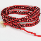 3-4mm Wine Red Pearl Beads Three Times Wrap Bangle Bracelet with Shell Clasp