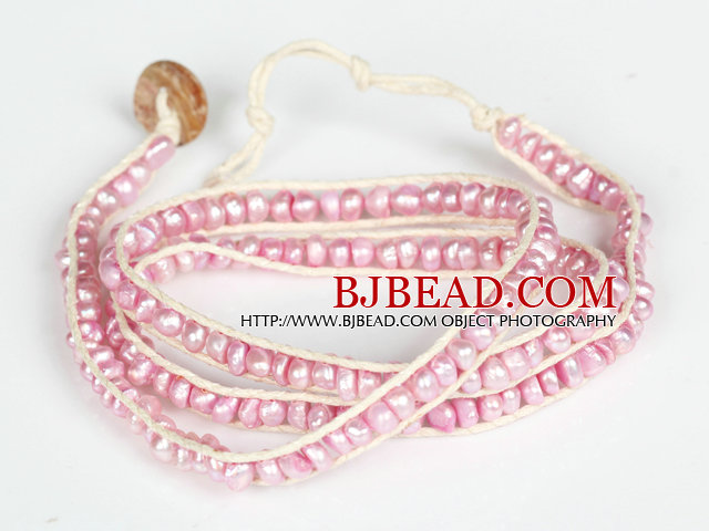 3-4mm Pink Pearl Beads Three Times Wrap Bangle Bracelet with Shell Clasp