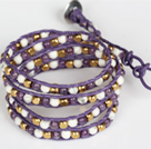 Amethyst and White Porcelain Stone and Copper Beads Wrap Bangle Bracelet under $ 40