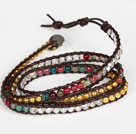 Assorted Multi Color Agaat en Crystal Wrap Bangle Armband