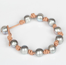 10-11mm Gray Freshwater Pearl Leather Bracelet with Pearl Closure