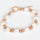 10-11mm White Freshwater Pearl Leather Bracelet with Pearl Closure
