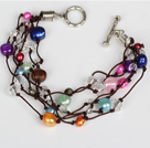 Assorted Multi Color Freshwater Pearl en Clear Crystal armband met Toggle sluiting