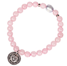 Cute Bracelet Rose Quartz and Pearl Stretch Bracelet with Tibetian Silver Coin Accessory
