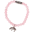 Cute Bracelet Rose Quartz Stretch Bracelet with Tibetian Silver Elephant Accessory under $ 40