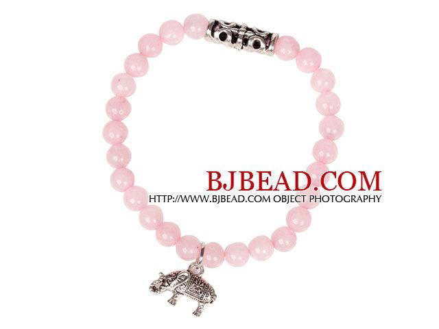 Cute Bracelet Rose Quartz Stretch Bracelet with Tibetian Silver Elephant Accessory
