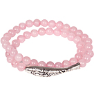 Double Layer Rose Quartz Bransoletka z Tibetian Srebrny Fish Akcesoria