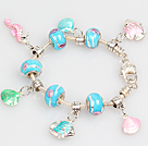 Fashion Style Ocean Series Charm Bracelet with Shell and Fish Pendant