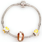 Simple and Fashion Style Yellow Colored Glaze Charm Bracelet under $ 4