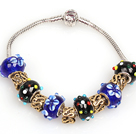 Fashion Style Dark Blue and Black Colored Glaze Charm Bracelet