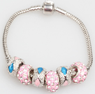 Fashion Style Pink Colored Glaze Charm Bracelet