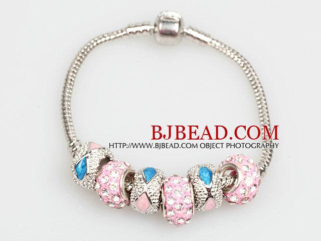 Fashion Style Pink Colored Glaze Charm Bracelet