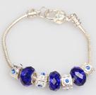 Fashion Style Dark Blue Colored Glaze Charm Bracelet with Lobster Clasp