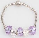 Fashion Style Light Purple Manmade Crystal Charm Bracelet