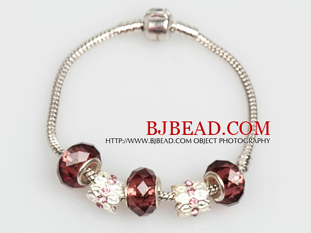 Fashion Style Brown Colored Glaze Charm Bracelet