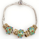 Fashion Style Green Colored Glaze Charm Bracelet