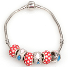 Fashion Style Red Colored Glaze Charm Bracelet Jewelry