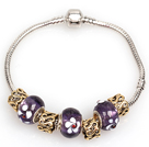 Fashion Style Dark Purple Colored Glaze Charm Bracelet