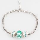 Simple and Fashion Style Lake Blue Colored Glaze Charm Bracelet