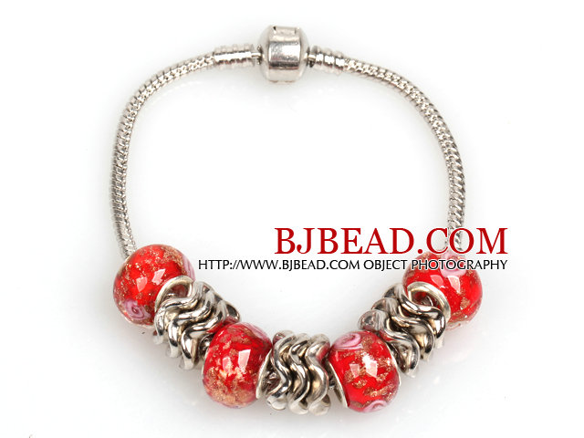Fashion Style Red Colored Glaze Charm Bracelet for Women