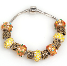 Fashion Style Yellow Colored Glaze Charm Bracelet Jewelry