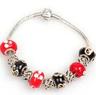 Fashion Style Red and Black Colored Glaze Charm Bracelet