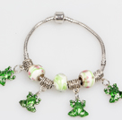 Fashion Style Green Colored Glaze Charm Bracelet with Frog Pendant