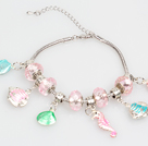 Fashion Style Pink Colored Glaze Charm Bracelet with Shell and Fish Pendant