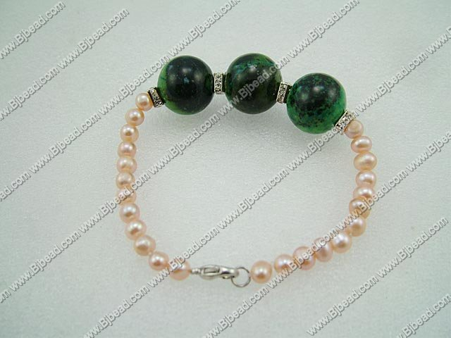 cultured natural fresh water pearl phenix stone bracelet 7 inches