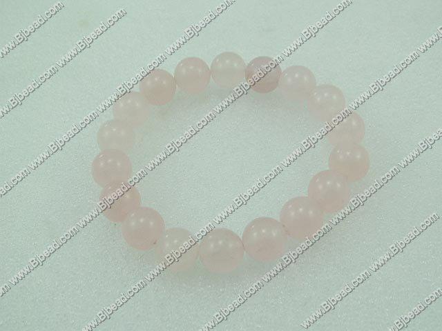 12mm rose quartz beaded bracelet