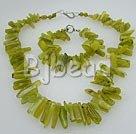 6-25 peridot chip necklace bracelet set