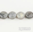 Flashing Stone beads,16mm flat oval, faceted,Sold per 15.75-inch strands
