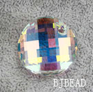 Austrain crystal pendant, AB color, 28mm flat round. Sold per pkg of 2.