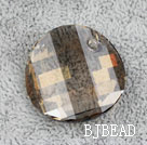 Austrain crystal pendant, smoked topaz, 28mm flat round. Sold per pkg of 2.