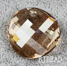 Austrain crystal pendant, citrine color, 28mm flat round. Sold per pkg of 2.