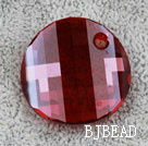 Austrain crystal pendant, red, 28mm flat round. Sold per pkg of 2.