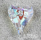 Austrain crystal pendants, AB color, 27mm heart shape. Sold per pkg of 2.