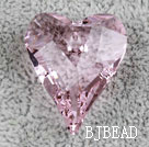 Austrain crystal pendants, pink, 27mm heart shape. Sold per pkg of 2.