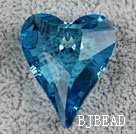 Austrain crystal pendants, sapphire blue, 27mm heart shape. Sold per pkg of 2.